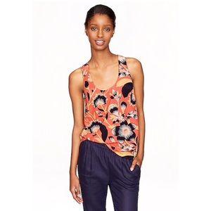 J. Crew Hibiscus Floral Twist Back Silk Blouse